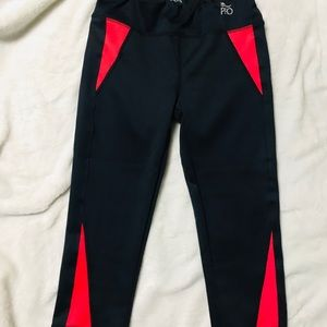 Red Color block Workout Running Legging